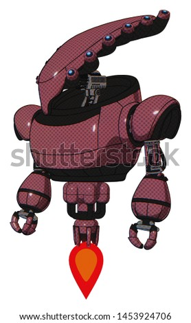Droid containing elements: flat elongated skull head, heavy upper chest, jet propulsion. Material: Muavewood halftone. Situation: Standing looking right restful pose.