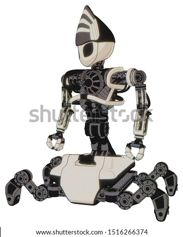 Droid containing elements: grey alien style head, black eyes, heavy upper chest, no chest plating, insect walker legs. Material: Yellowed old plastic. Situation: Standing looking right restful pose.
