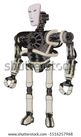 Droid containing elements: humanoid face mask, heavy upper chest, no chest plating, ultralight foot exosuit. Material: Yellowed old plastic. Situation: Standing looking right restful pose.