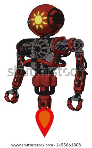 Droid containing elements: oval wide head, sunshine patch eye, heavy upper chest, no chest plating, jet propulsion. Material: Cherry tomato red. Situation: Standing looking right restful pose.