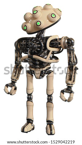 Droid containing elements: techno multi-eyed domehead design, heavy upper chest, no chest plating, ultralight foot exosuit. Material: Off-white. Situation: Standing looking right restful pose.