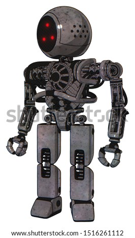 Droid containing elements: three led eyes round head, heavy upper chest, no chest plating, prototype exoplate legs. Material: Unpainted metal. Situation: Standing looking right restful pose.