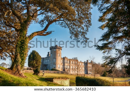 dromoland 5 star castle and golf club , sunset evening  castle in county clare ireland. dromoland castle , newmarket on fergus, county clare. famous public tourist attraction landmark.