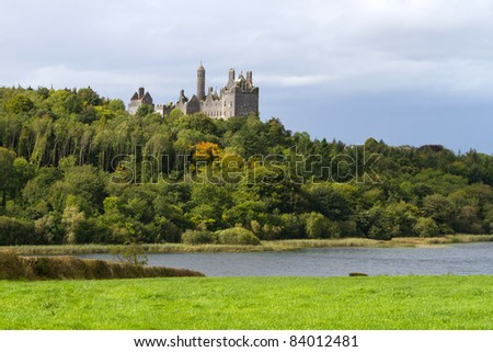 Dromore Castle and lake in Co. Limerick, Ireland