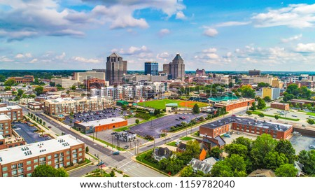 Drone Aerial of Downtown Greensboro North Carolina NC Skyline
