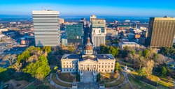 Drone Aerial of the State Capitol Building in Downtown Columbia, South Carolina, USA.