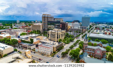 Drone aerial panorama of downtown Columbia South Carolina SC. #1139203982