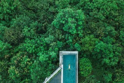 Drone aerial shot of woman relaxing in awesome infinity swimming pool hiding in jungle, Bali. Travel concept, luxury vacations in Asia, summer holidays.