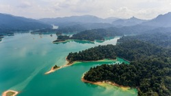 Drone aerial shot, top view of Khao Sok National Park, It is another destination for people who like the sea. The island is a nature reserve., Surat Thani,Thailand
