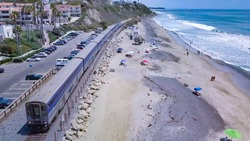 Drone Aerial Surfliner Train Station in Southern California (San Clemente)