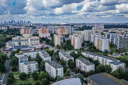 Drone aerial view in Goclaw housing estate, part of South Praga district of Warsaw, capital of Poland