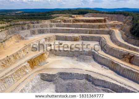 Drone aerial view of biggest Czech limestone quarry Devil's Stairs - Certovy Schody near Prague. Aerial view of industrial landscape after mining. Industry and environment in Czech Republic Zdjęcia stock ©