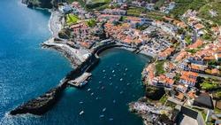 Drone aerial view of Camara de Lobos, Madeira island, Portugal