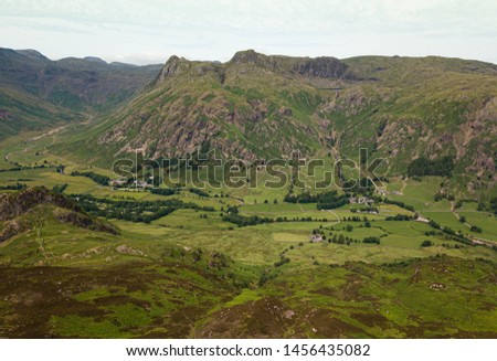 Drone capture taken from Side Pike looking back across the magnificent Langdale PIkes in the English Lake District #1456435082