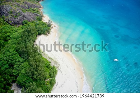 Drone field of view of coastline and forest Curieuse Island, Seychelles. Stock photo ©