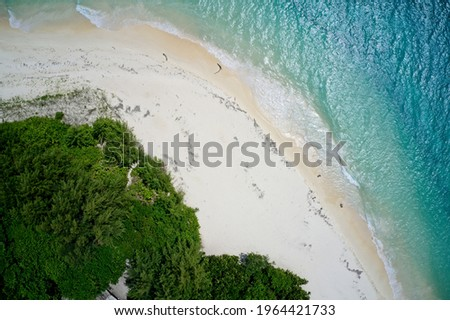 Drone field of view of sea, sand and beach Curieuse Island, Seychelles. Stock photo ©