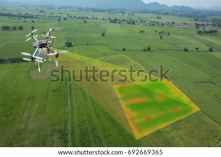 drone for agriculture, smart farmer use drone for various fields like research analysis, terrain scanning technology, monitoring soil hydration, yield problem, take photo and send data to the cloud
