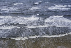 Drone high angle view of Baltic Sea on Vistula Spit between Vistula Lagoon and Bay of Gdansk, Poland
