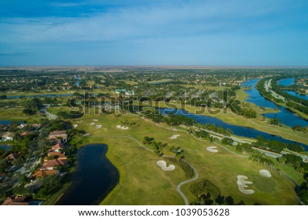 Drone image of Weston Florida homes and golf courses #1039053628