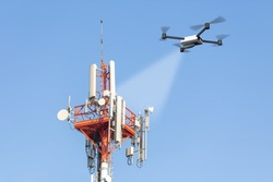 drone inspecting mobile network tower