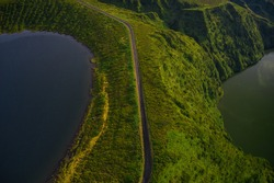 Drone landscape top view of Volcano Lake Lagoa Funda e Rasa (