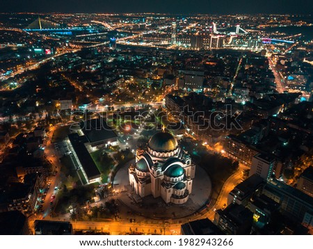 Drone night long exposure of St. Sava temple and rest of Belgrade Stok fotoğraf ©