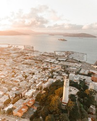 Drone of Coit Tower San Francisco