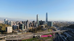 Drone perspective of Santiago de Chile and its roads.