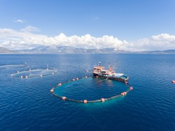 Drone photo of a fishing boat in an open sea fish farm in Aegean Turkey