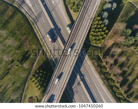 Drone photo of an overpass highway #1047410260