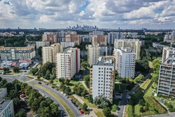 Drone photo of Goclaw housing estate, part of South Praga district of Warsaw, capital of Poland
