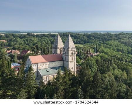 Drone photo of Jak's Romanesque abbey church, Hungary Zdjęcia stock ©