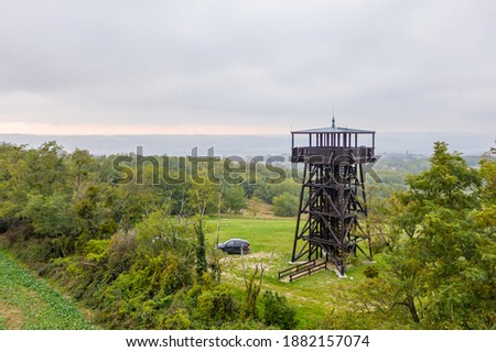 Drone photo of Mother Theresa (Terez Anya) lookout tower in an autumn afternoon in Zalakoveskut, Hungary Stock fotó ©
