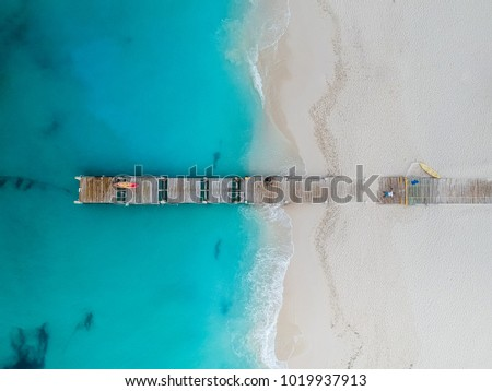 Drone photo of pier in Grace Bay, Providenciales, Turks and Caic