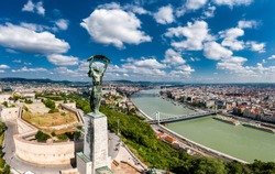 Drone photo of the Citadel the Statue of Liberty and the Danube with chain bridge in Budapest, Hungary.