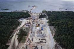 Drone photo of Vistula Spit canal called Nowy Swiat - New World ship canal building site between Vistula Lagoon and Bay of Gdansk, Baltic Sea, Poland