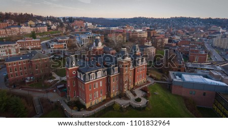 Drone Photo of Woodburn Hall during a sunset