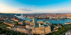 Drone photo, panorama of buda castle and danube Budapest, Hungary .