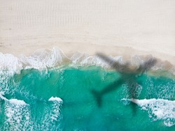 Drone photo Playa Ballenas, Cancun, Quintana Roo, Mexico. Only the caribbean blue sea and white sandy beaches can be seen