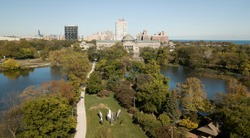 Drone photograph of Chicago Jackson Park and the lagoon facing north towards Hyde Park