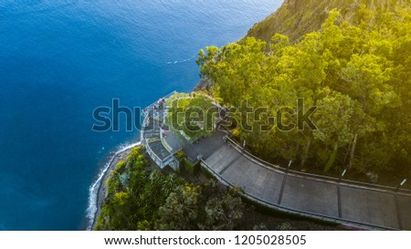 "Drone photography of ""Cabo Girao"" viewpoint situated at ""Camara de Lobos"", Madeira island, Portugal. The highest promontory in Europe with an elevation of 580 meters. #1205028505"