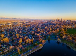 Drone Photography Sunrise in Denver, Colorado