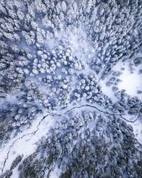 Drone picture in winter, Kosovo Rugova