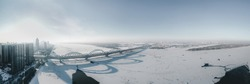 drone picture of Harbin city view, ice shooting, bridge, frozen river, pano picture, China