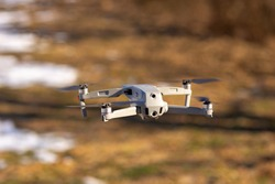 drone, quadcopter in flight. in the air. the quadcopter is flying. drone camera. drone in nature. shooting video from a , drone