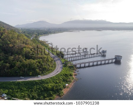 drone scape and land scape of thailand bangpra chonburi water dam, water supply manufacturing and productionplace.  #1037901238