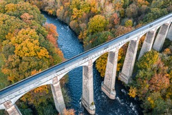 Drone shoot over Pontcysyllte Aqueduct crossing above the River Dee  at autumn in Wales, UK