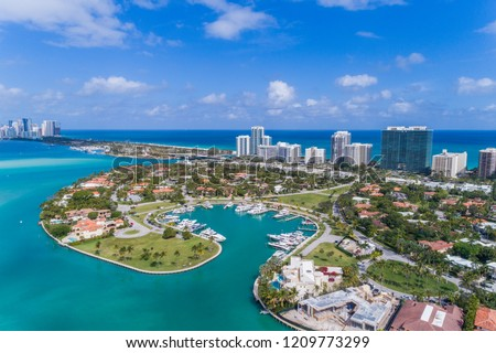 Drone Shot of a Marina in Bal Harbor