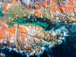 Drone shot of Bay of Fires Tasmania