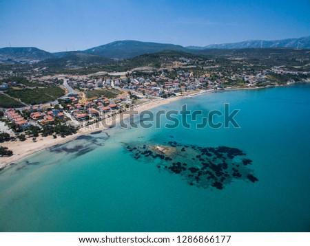 Drone shot of beach. Izmir Turkey